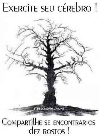 Tente encontrar os 10 rostos. Uma imagem de ilusão de ótica de uma árvore....