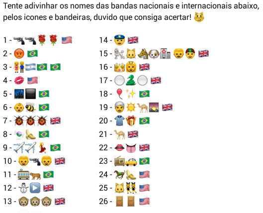 Descubra os nomes das bandas mundiais. Tente acertar os nomes das bandas nacionais e internacionais....