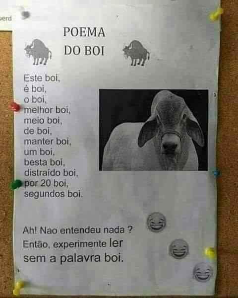 Poema do boi. Esse poema parece um pouco estranho... confira!.