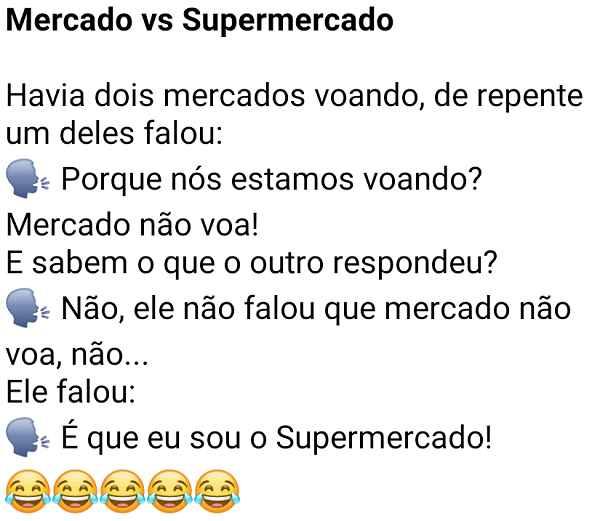 Mercado vs Supermercado. Dois mercados conversando... um deles é super-herói, adivinha o que ele falou para o outro?.