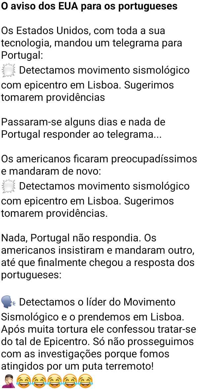 O aviso dos EUA para os portugueses. Os americanos, com toda a sua tecnologia, enviaram um telegrama para Portugal....
