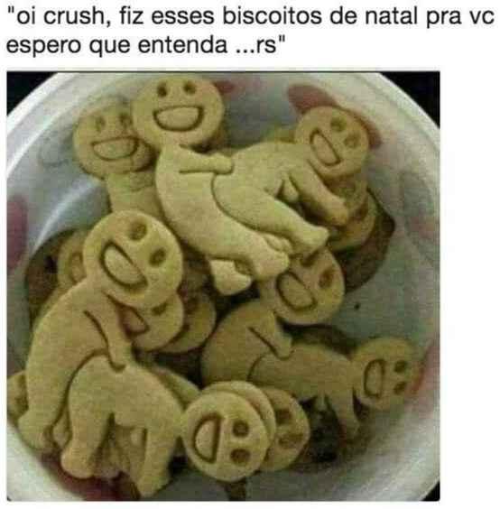Oi crush, fiz esses biscoitos de natal. Biscoitos com desenhos ousados, para o(a) crush... veja isso..