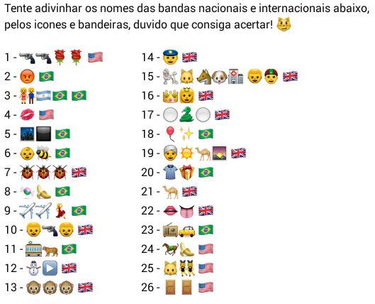 Descubra os nomes das bandas mundiais
