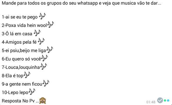 Brincadeira musical para whatsapp