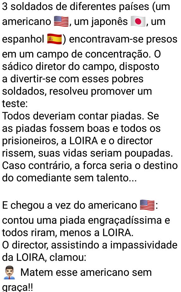 3 soldados em apuros. 3 soldados de diferentes países (um americano 🇺🇸, um japonês 🇯🇵, um espanhol 🇪🇸) encontravam-se presos....