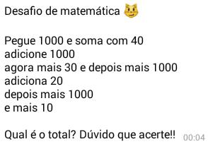 Desafio de matemática. Você é bom em matemática? Então te proponho a responder esse desafio, mas não vale usar calculadora, lapis e nem papel!.