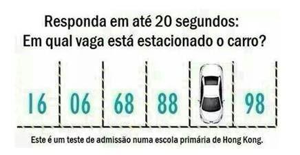 Teste: Em qual vaga está estacionado o carro?. Responda em até 20 segundos: Em qual vaga está estacionado o carro?.