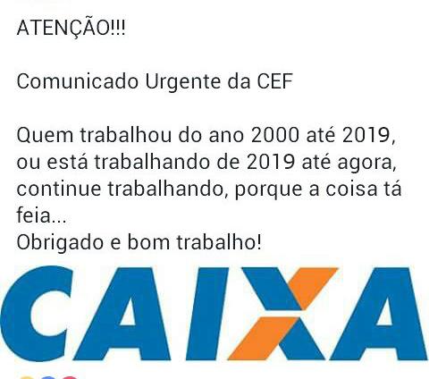 Comunicado URGENTE da Caixa 2019. Novo comunicado urgente da CEF após 2019..