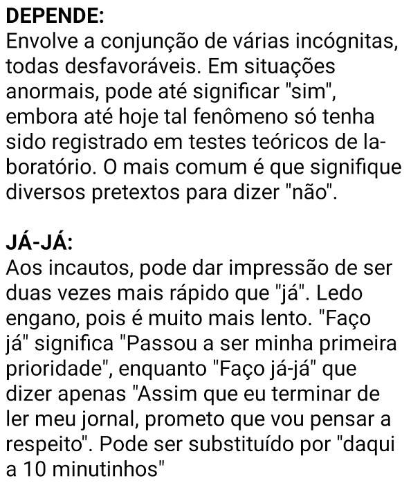 Dicionário do jeitinho brasileiro.