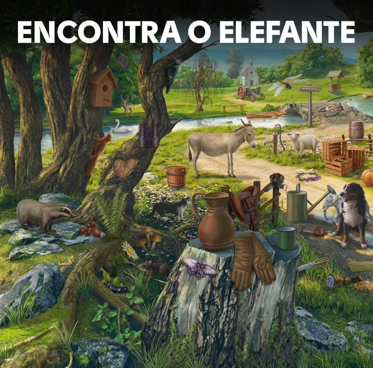 Encontre o elefante. Teste de atenção: encontre o elefante na imagem..