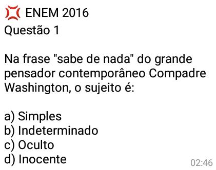 Enem 2016: Questão #1. Por falar em ENEM as provas ocorrerão agora nos dias 05 e 06 de novembro (nesse sábado e domingo) então fiquem atentos ;).