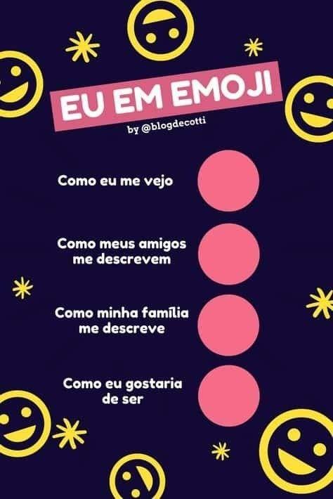 Eu em emoji - como eu me vejo?. Eu em emoji, como me vejo, como meus amigos me descrevem... .