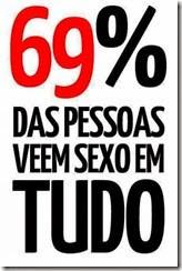 69% das pessoas vêem sexo em tudo. É o que aponta essa imagem, concorda?.