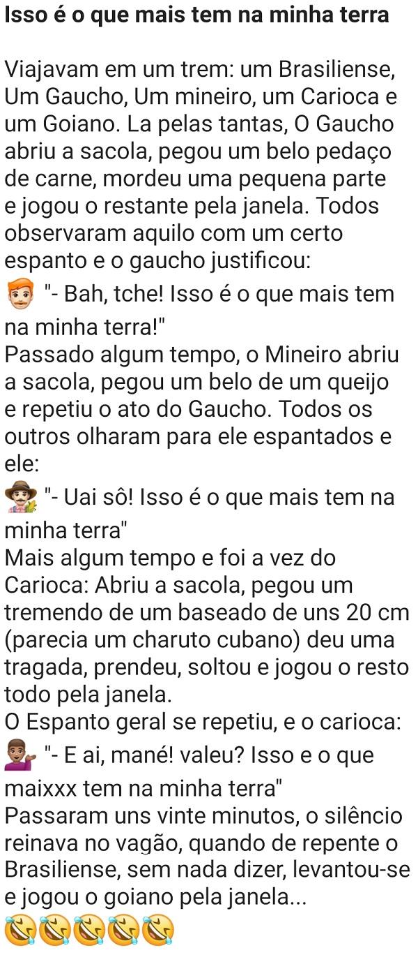 Isso é o que mais tem na minha terra. Um brasiliense, um gaúcho, um mineiro, um carioca e um goiano estavam conversando, quando um abre a sacola....