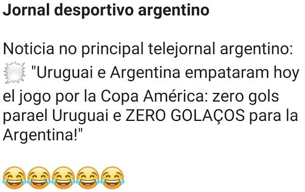 Jornal desportivo argentino. Olha como os jornais desportivos argentinos retratam uma notícia de sua seleção....