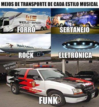 Meios de transporte de cada estilo musical. Cada estilo musical tem seu meio de transporte, confira a imagem kkkk.