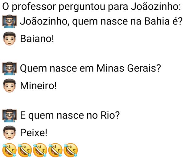 Quem nasce no Rio é...?. O prefessor estava a perguntar ao Joãozinho sobre os gentílicos de determinadas regiões do Brasil, quando perguntou....