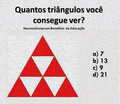 Quantos triângulos você vê na imagem?. É preciso ter um pouco de atenção pra responder corretamente .