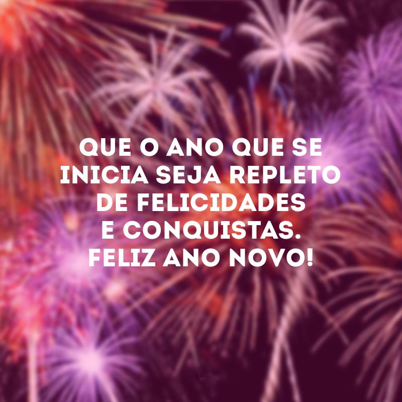 Que o ano que se inicia seja repleto de felicidades e conquistas. . Que o ano que se inicia seja repleto de felicidades e conquistas. Feliz Ano Novo!.