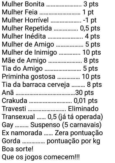Tabela de pontos Carnaval 2020. Olha essa tabela, veja quantos pontos pode ganhar nesse carnaval....