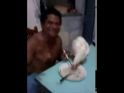 Tô comendo arroz com frango. Flávio o que você tá fazendo?.
