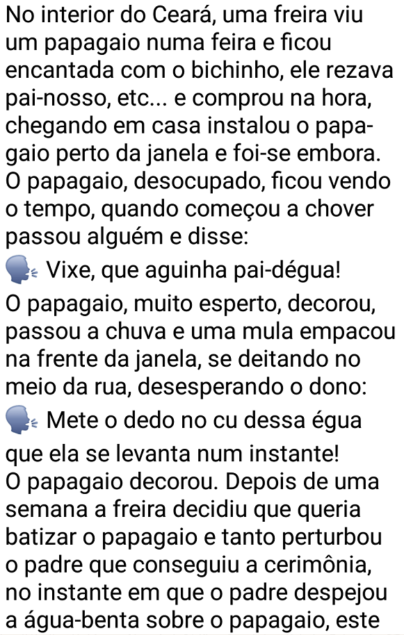 O papagaio desbocado. No interior do Ceará, uma freira viu um papagaio rezando pai-nosso, etc... e comprou na hora, mas não esperava que o bicho falasse tanto palavrão....
