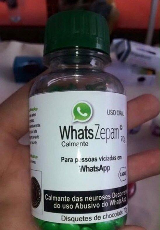 Remédio do WhatsApp. Remédio para pessoas viciadas em WhatsApp.