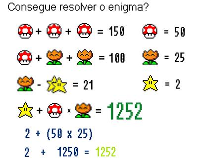 Consegue resolver o enigma Super Mário - resposta
